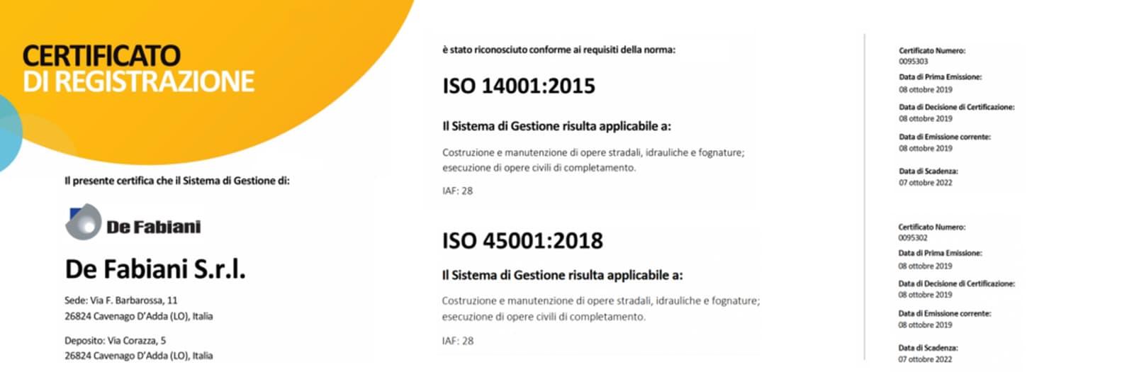 CERTIFICAZIONE SISTEMA INTEGRATO – ISO 45001 E ISO 14001 – DE FABIANI