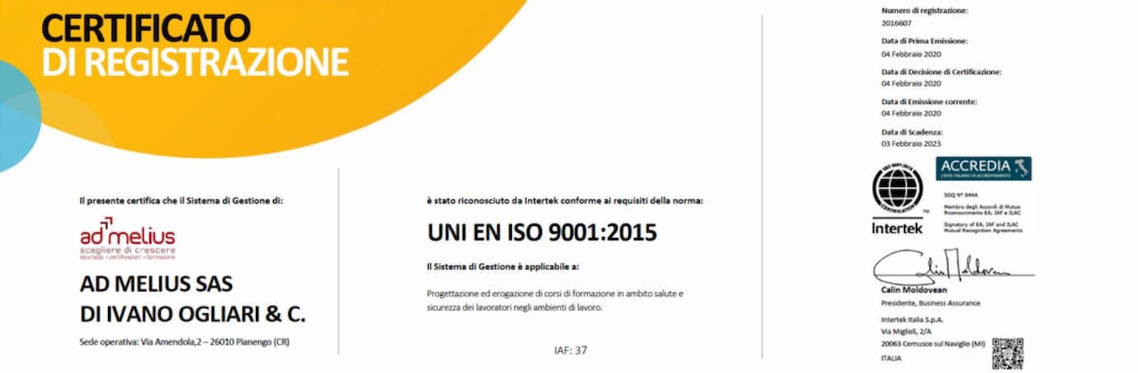 CERTIFICAZIONE SISTEMA DI GESTIONE SALUTE E SICUREZZA – UNI EN ISO 9001:2015- AD MELIUS
