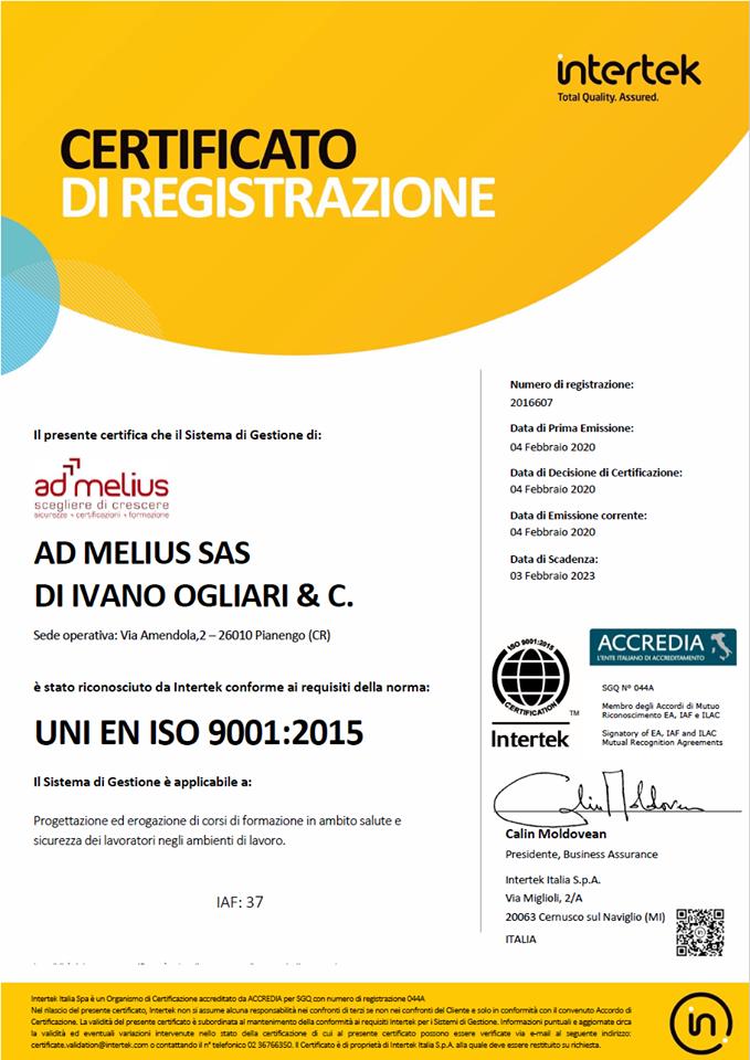 attestato di certificazione uni en iso 9001: 2015 admelius