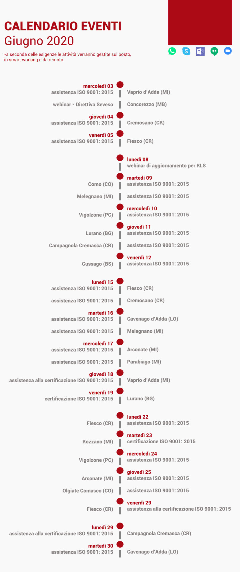 calendario eventi giugno 2020