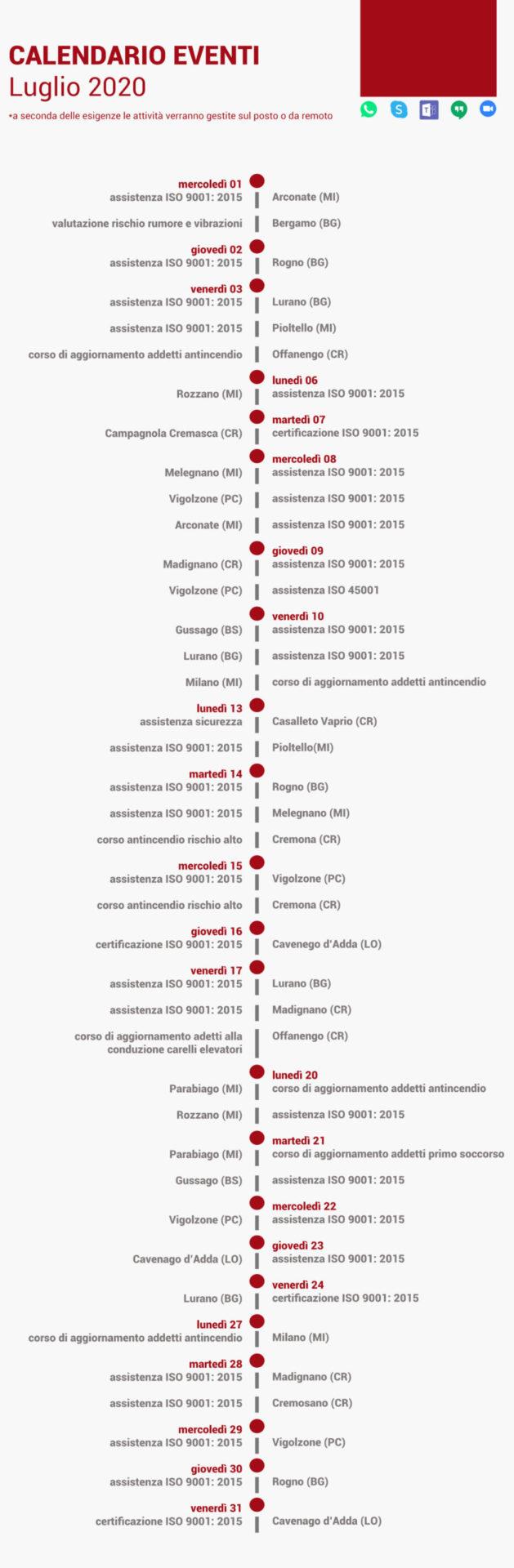 calendario, eventi, luglio, 2020