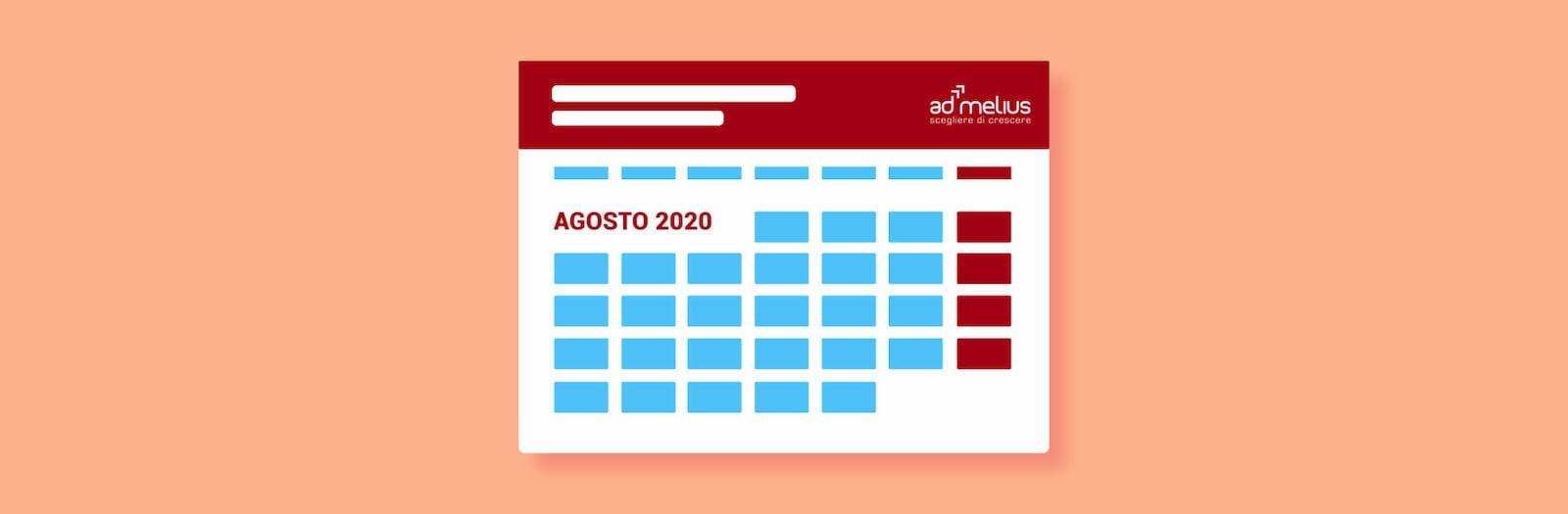 CALENDARIO EVENTI AGOSTO 2020